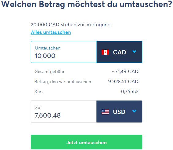 Mit TransferWise CAD in USD umtauschen