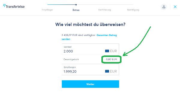 TransferWise Überweisung in EUR