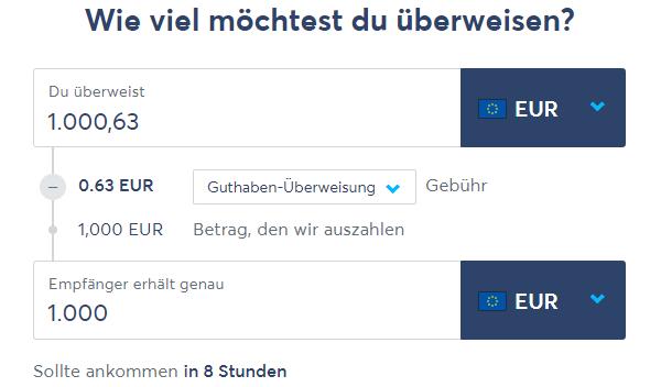 Перевод в евро со счетом TransferWise