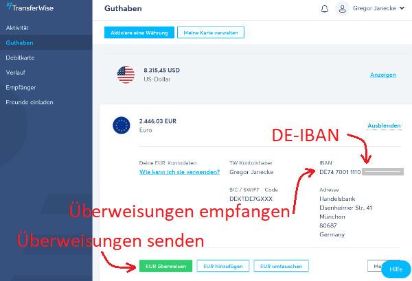 TransferWise Konto mit Überweisung