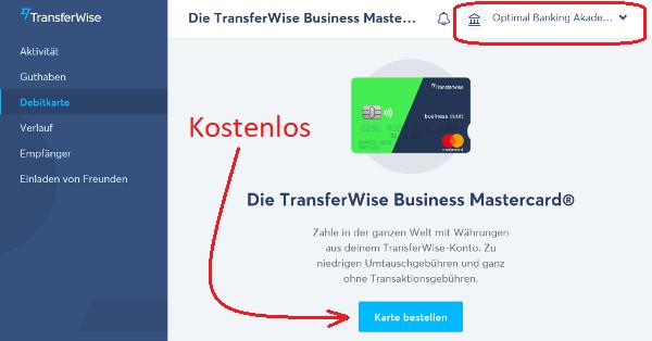TransferWise Mastercard bestellen