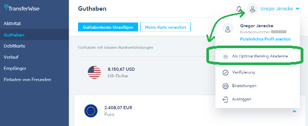 TransferWise privat und business