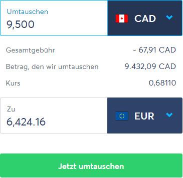 Umtausch von CAD zu EUR via TransferWise