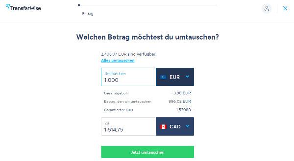 Währung mit TransferWise tauschen