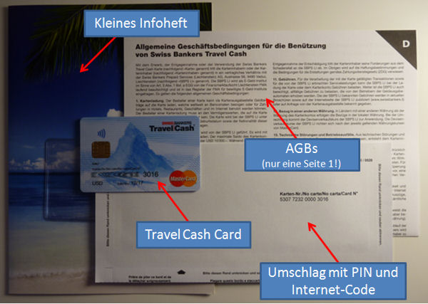 Travel Cash Card - PIN und Internet-Code