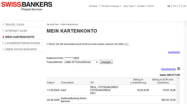 Online-Banking Travel Cash Card, Swiss Bankers
