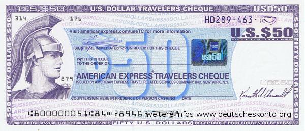 Reisescheck von American Express im Gegenwert von 50 USD aus dem Jahr 2013.