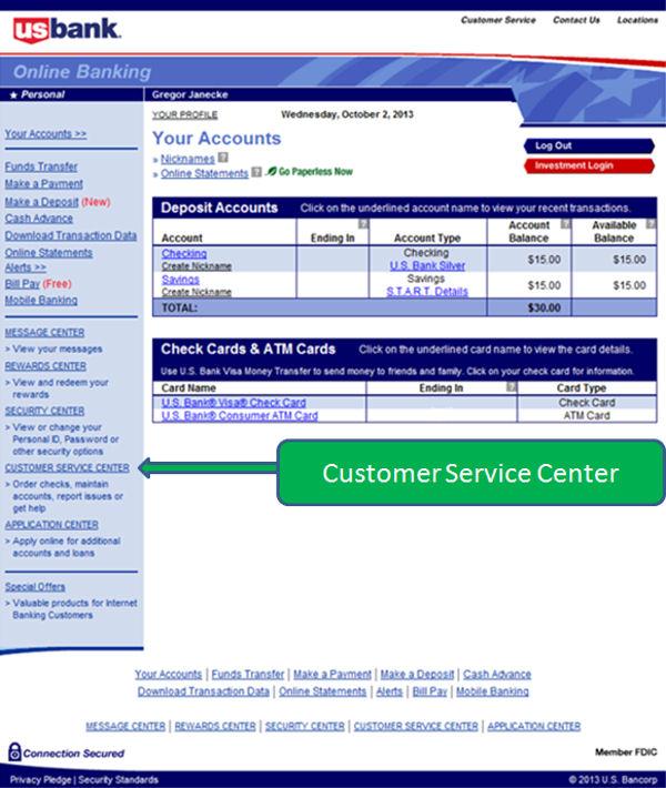 Online Banking der US Bank