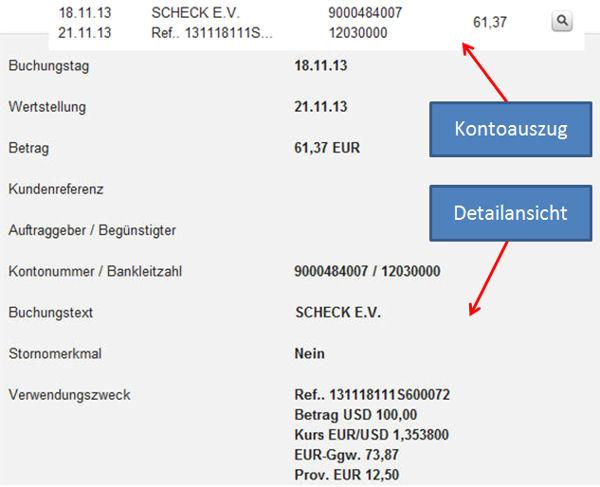Kontoauszug und Detailansicht bei der DKB. (Scheckeinrichtung USA)