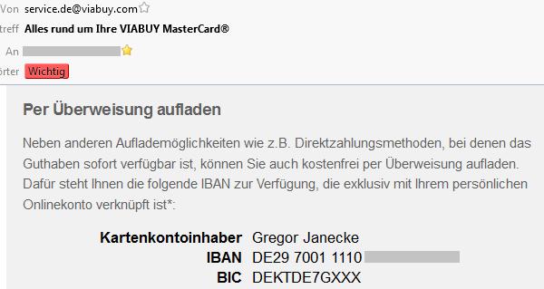 Viabuy, numero bancario tedesco