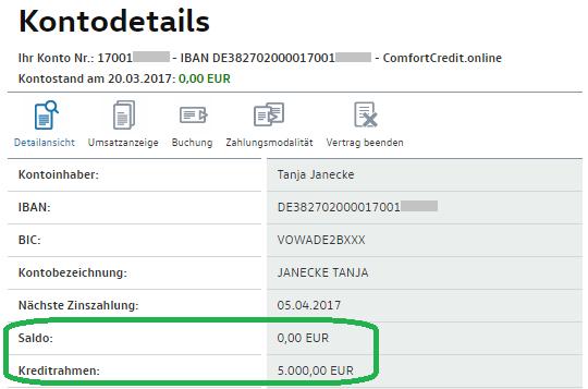 Kreditlinie bei der Volkswagenbank