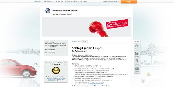 Kreditlinie der VW Bank