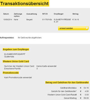 Western Union Geldtransfer Formular