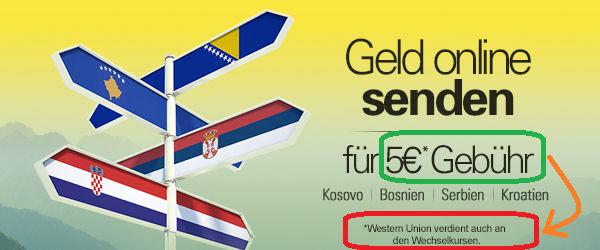 Western Union GebГјhren Tabelle