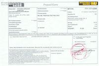 Beleg über die Einzahlung bei Western Union