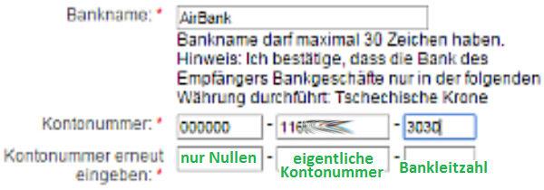 Eingabe der Kontonummer des tschechischen Kontos bei Western Union