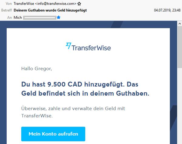 E-Mail über Zahlungseingang von TransferWise