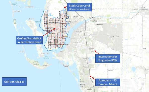 Karte von Cape Coral mit Nelson Road