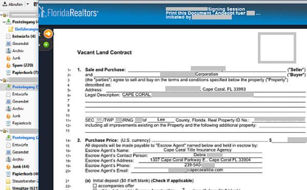 Angebot zum Kauf eines Florida-Grundstücks
